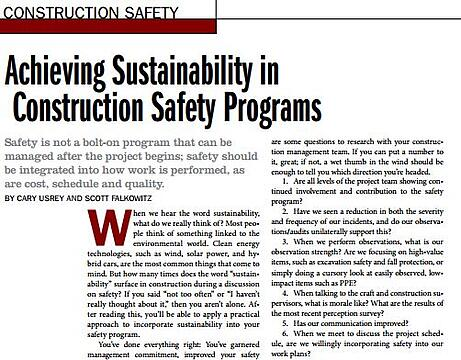 Achieving Sustainability in  Construction Safety Programs