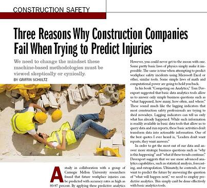 Three Reasons Why Construction Companies Fail When Trying to Predict Injuries