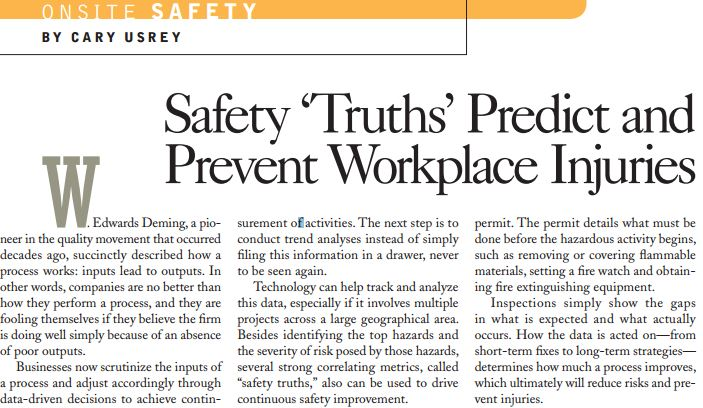 Safety 'Truths' Predict and Prevent Workplace Injuries