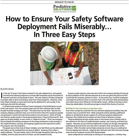 How to Ensure Your Safety Software Deployment Fails Miserably…