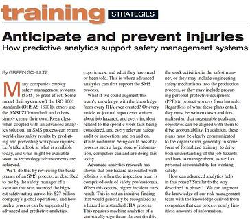 Anticipate and prevent injuries