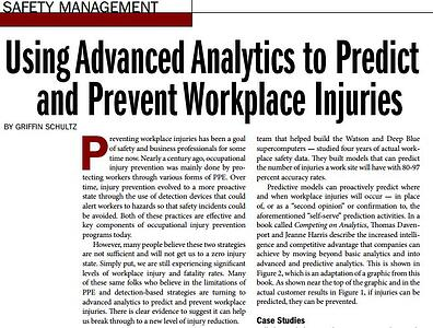 Using Advanced Analytics to Predict  and Prevent Workplace Injuries